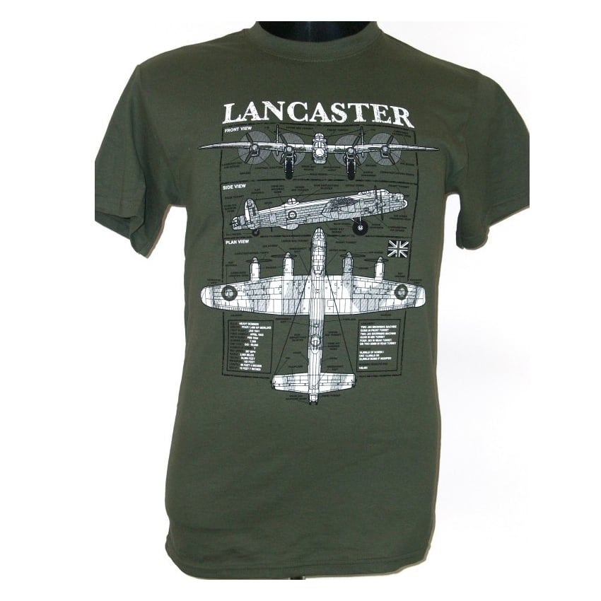Connu Lancaster Bomber T-Shirt in Olive from the Plan Motif Range NX43