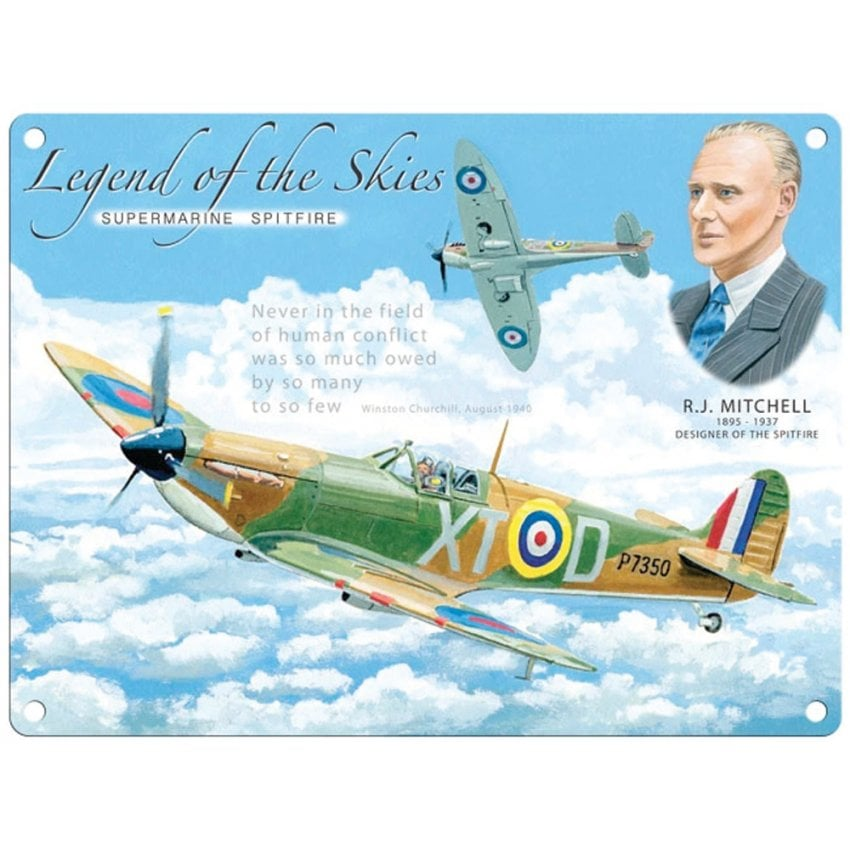 Legend of the Skies Spitfire Metal Sign