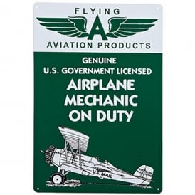 Mechanic on Duty Embossed Tin Aviation Sign