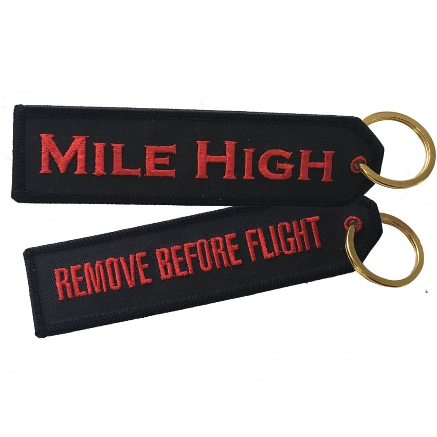Mile High Embroidered Keyring