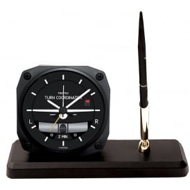 Modern Turn and Bank Clock and Pen Set