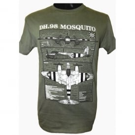 Wooden Model Company Mosquito Aircraft Plan Motif T-Shirt