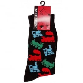 Multiple Steam Trains Socks