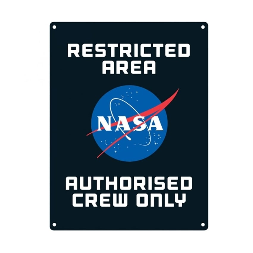 NASA Restricted Area Small Tin Sign