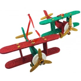 Pair of Wooden Bi-Plane Glitter Tree Ornaments