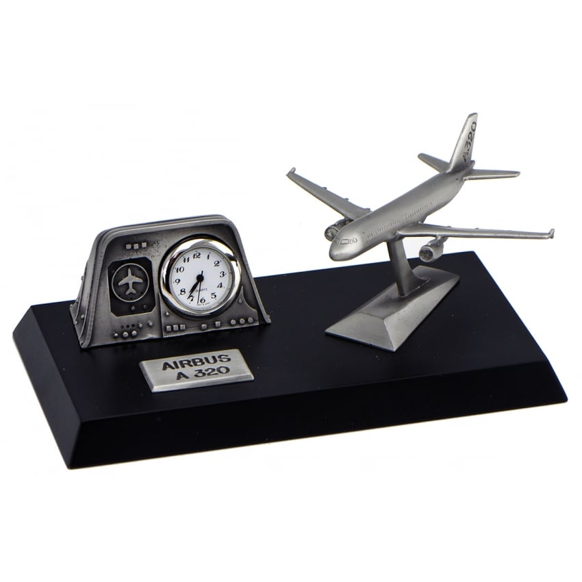 Pewter Desk Clock - Airbus A320