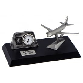 Clivedon Pewter Desk Clock - Airbus A320