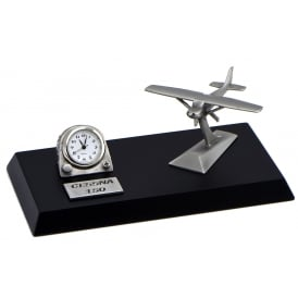 Clivedon Pewter Desk Clock - Cessna 150
