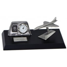 Clivedon Pewter Desk Clock - Concorde