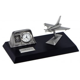 Pewter Desk Clock - Eurofighter