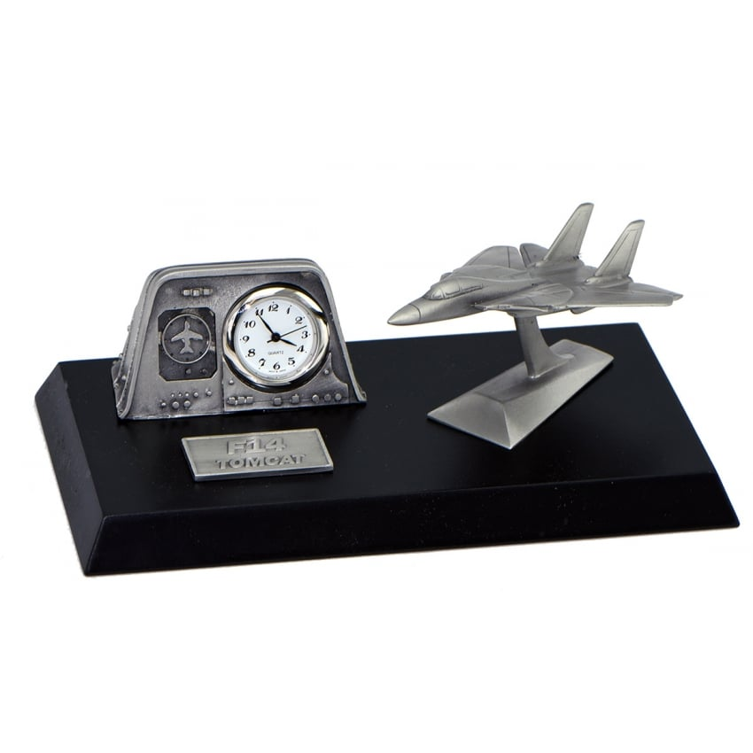 Pewter Desk Clock - F14 Tomcat