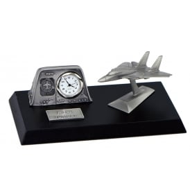 Clivedon Pewter Desk Clock - F14 Tomcat