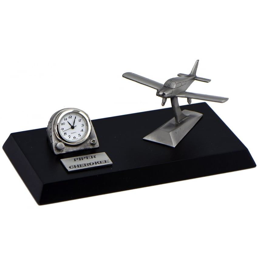 Pewter Desk Clock - Piper Cherokee