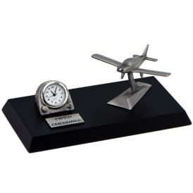 Clivedon Pewter Desk Clock - Piper Cherokee