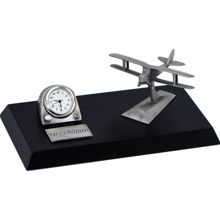 Pewter Desk Clock - Tiger Moth