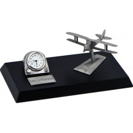 Clivedon Pewter Desk Clock - Tiger Moth