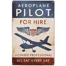 Gifts For Aviators Pilot for Hire Metal Retro Aviation Sign