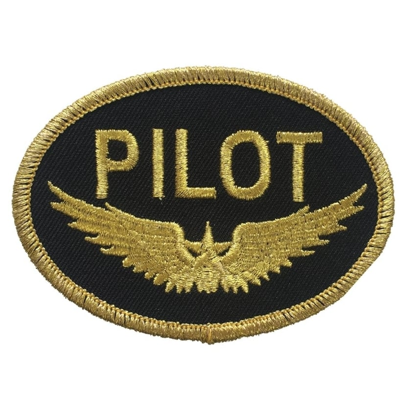 Pilot Gold Oval Iron On Patch