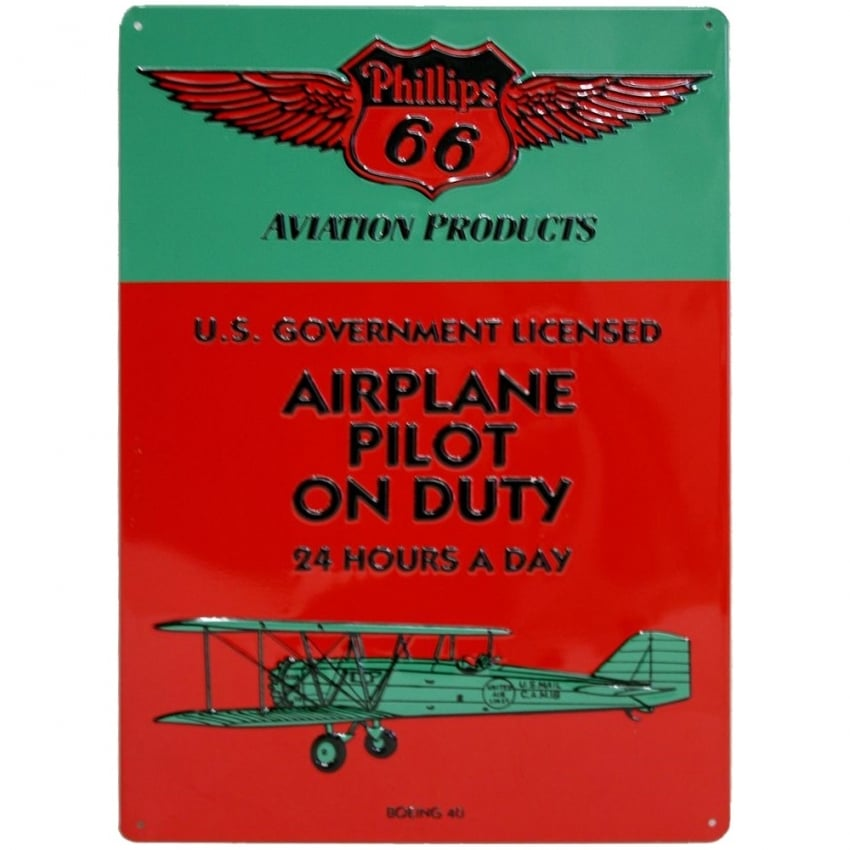 Pilot on Duty Embossed Tin Aviation Sign