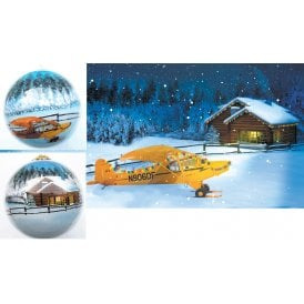 Gifts For Aviators Piper Cub Winter Scene Christmas Tree Aircraft Ornament