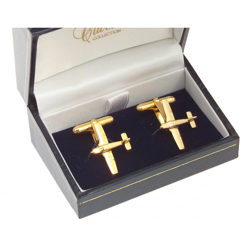 Piper PA28 Cherokee Cufflinks - Gold Plated