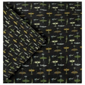 Tie studio Planes Silk Handkerchief on Black