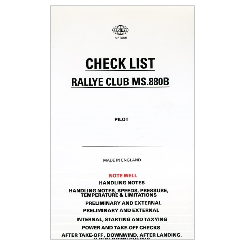 Pooleys Rallye Club Pilots Checklist