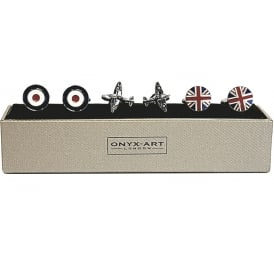 RAF & Airplane Cufflinks - Gift Set of 3