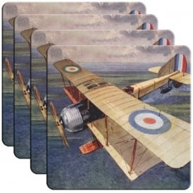 Half Moon Bay RAF Bi-Plane Coaster Set of 4