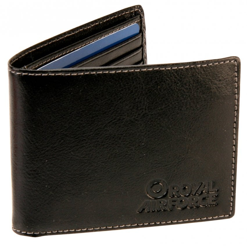 Crested Leather Wallet in Black