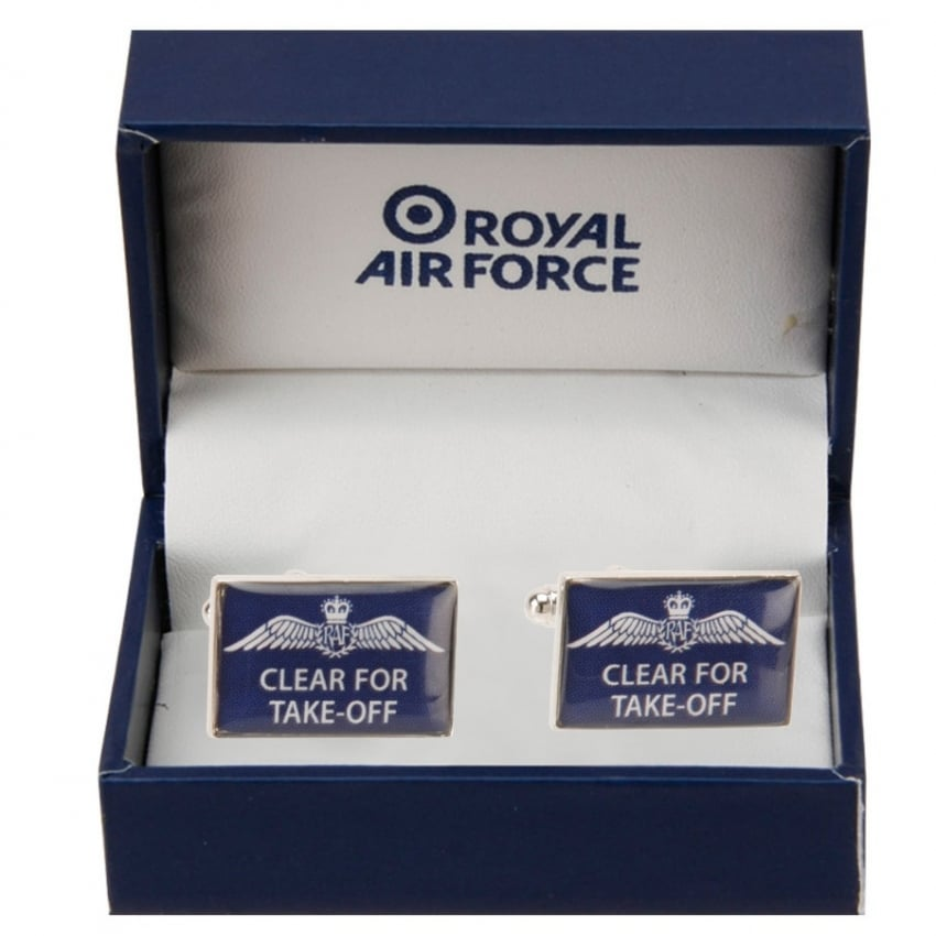 Cufflinks 'Clear For Take Off' in Blue