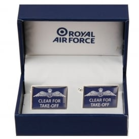 RAF Cufflinks 'Clear For Take Off' in Blue