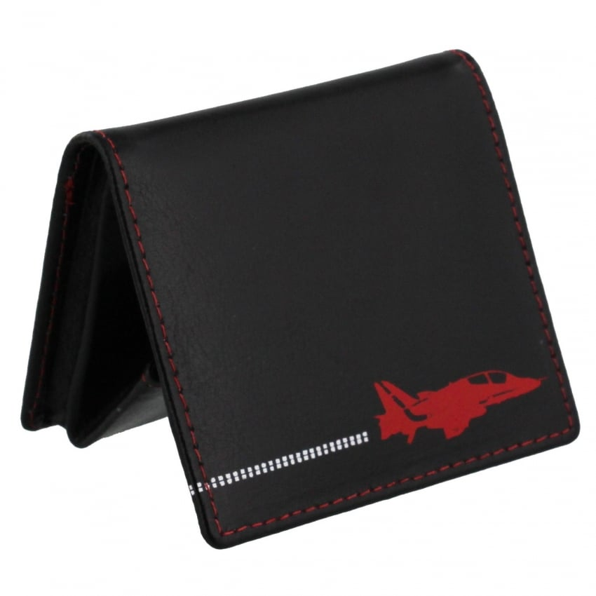 Red Arrows Silhouette Leather Coin Holder in Black