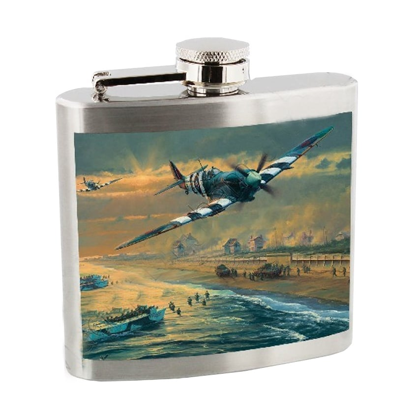 Spitfire in Clouds Hip Flask