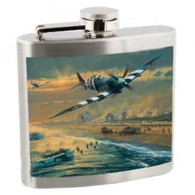 RAF Spitfire in Clouds Hip Flask