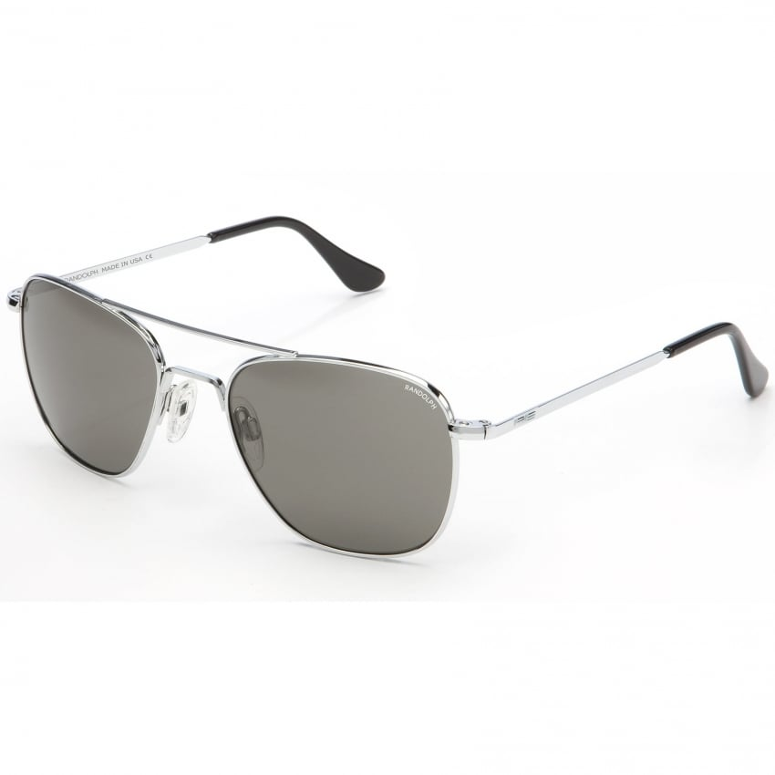 Aviators Bright Chrome Skull - Grey Lens