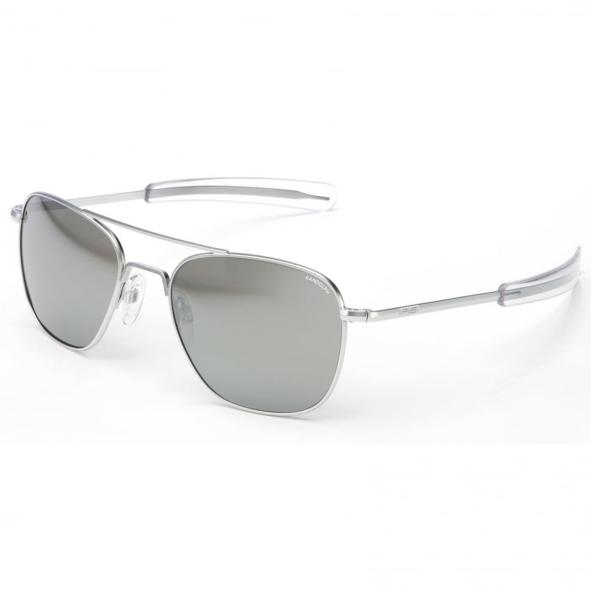 Randolph Aviators Matte Chrome Bayonet - Grey Mirror Lens
