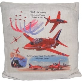 Red Arrows Hessian Cream Cushion