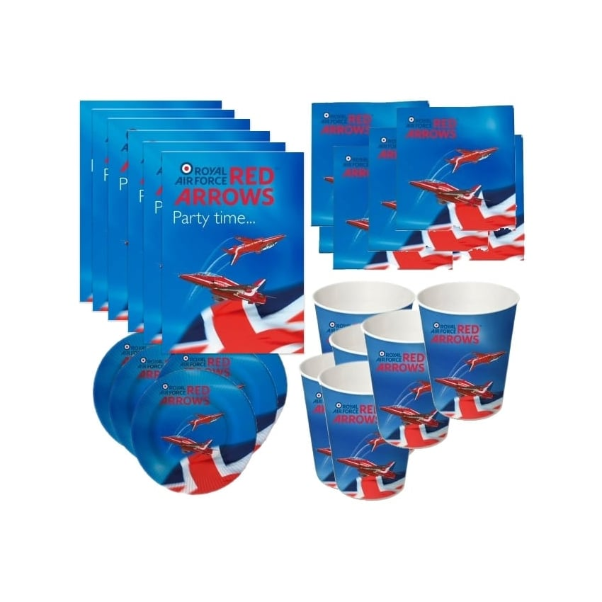 Red Arrows Paper Party Complete  Set for 6