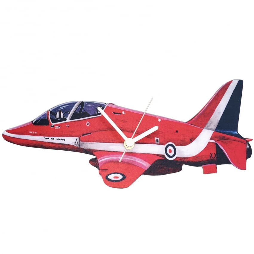 Red Arrows Side View Cut Out Wooden Wall Clock