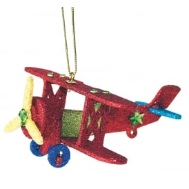Red Bi-Plane Christmas Ornament