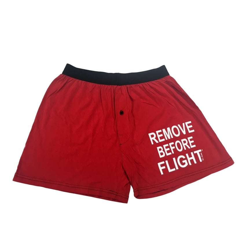 Remove Before Flight Mens Boxer Shorts with black waistband