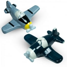 Gifts For Aviators Salt and Pepper Ceramic Pots - Warbirds