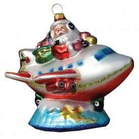 Santa Pilot on top of the World Christmas Tree Aircraft Ornament