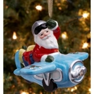 Santa with Airplane LED Christmas Tree Ornament