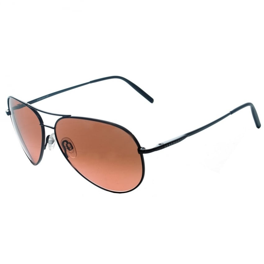 Serengeti Aviators - Shiny Black - Drivers Lens