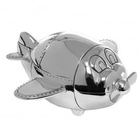 Gifts For Aviators Silverplated Aeroplane Money Box
