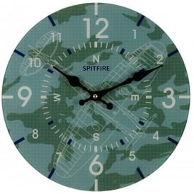 RAF Spitfire Blueprint Glass Wall Clock