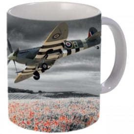 Spitfire Over Poppy Fields Mug