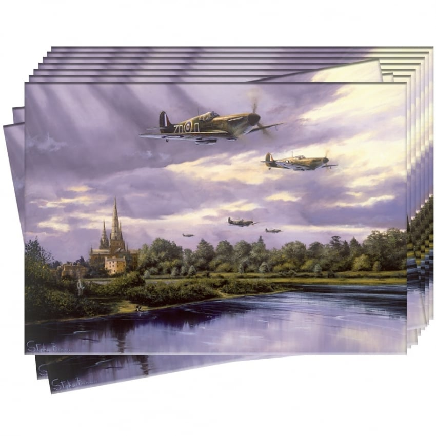 Spitfires over Lichfield Greeting Cards - Pack of 10
